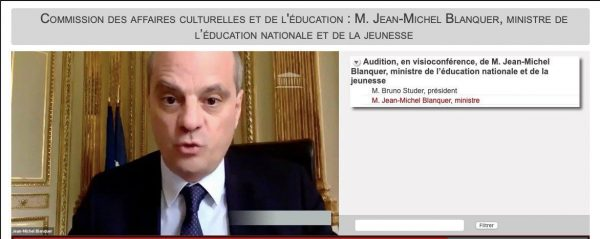 Audition de monsieurJean Michel Blanquer Ministre de l'Éducation nationale2 e1595329147386